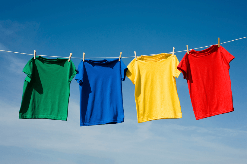 colored tee shirts on clothesline